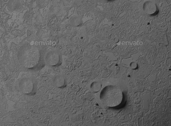Empty Planet Surface. Craters and Bumps - 3D Backgrounds