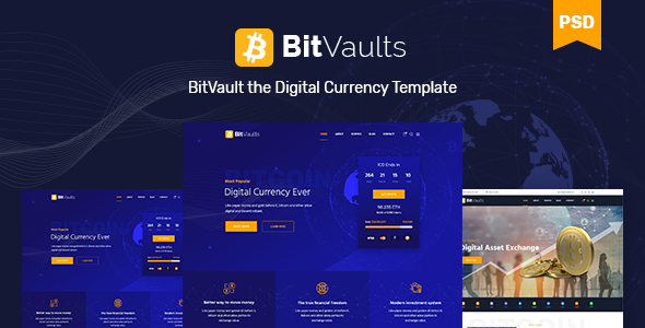 Bitvaults | ICO, Bitcoin and Cryptocurrency PSD Template - Business Corporate