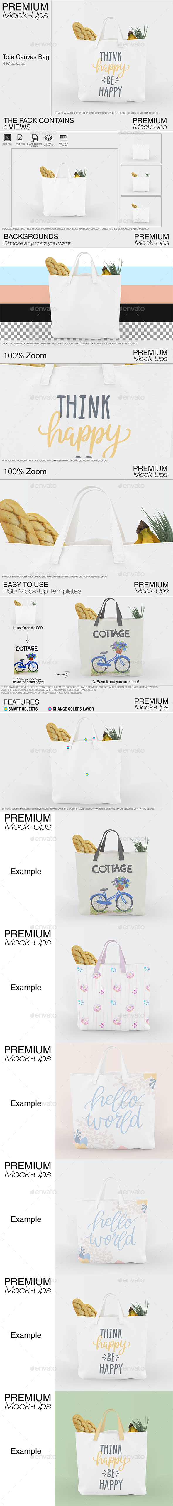 Tote Canvas Bag Mockups - Print Product Mock-Ups