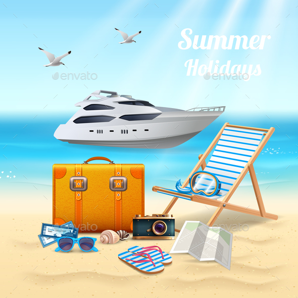 Summer Holidays Realistic Composition - Travel Conceptual