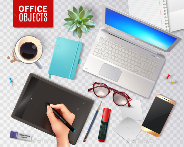 3D Office Objects Transparent Background - Concepts Business