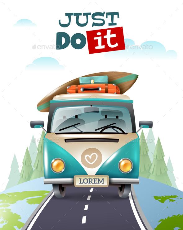 Minibus Journey Travel Background - Travel Conceptual