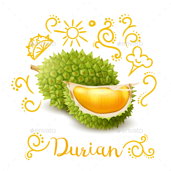 Exotic Fruit Durian Doodles Composition - Food Objects