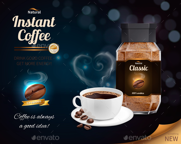 Instant Coffee Realistic Composition - Miscellaneous Vectors