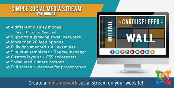 Simple Social Media Stream Joomla Extension - CodeCanyon Item for Sale