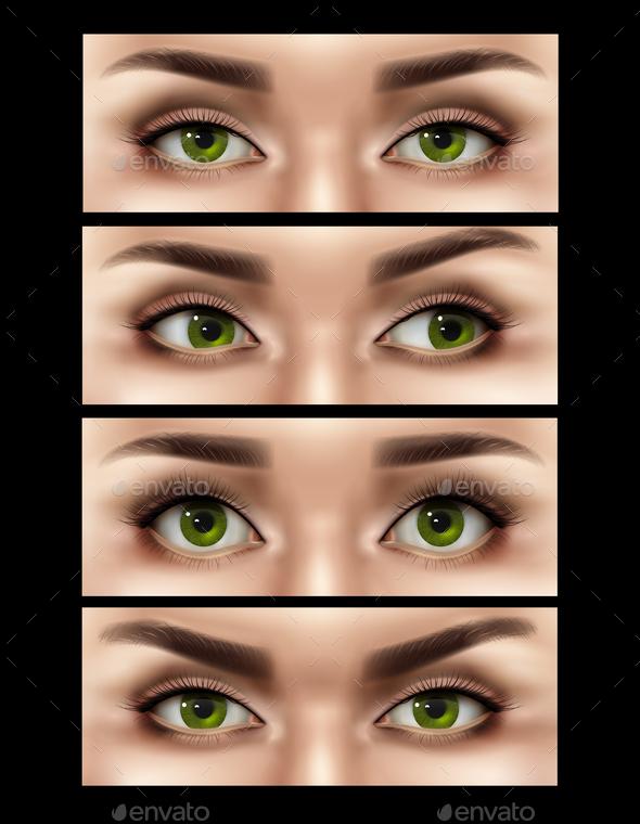 Realistic Female Eyes Expressions Set - Backgrounds Decorative