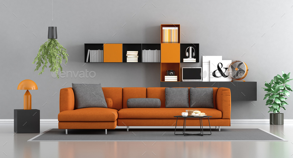Modern orange and gray lounge - Stock Photo - Images