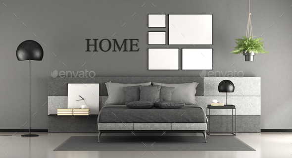 Minimalist master bedroom - Stock Photo - Images