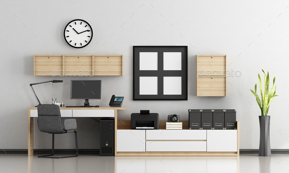 Minimalist home workplace - Stock Photo - Images