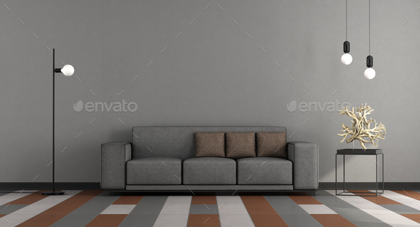 Gray and brown modern lounge - Stock Photo - Images