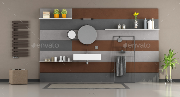 Modern bathroom with washbasin - Stock Photo - Images