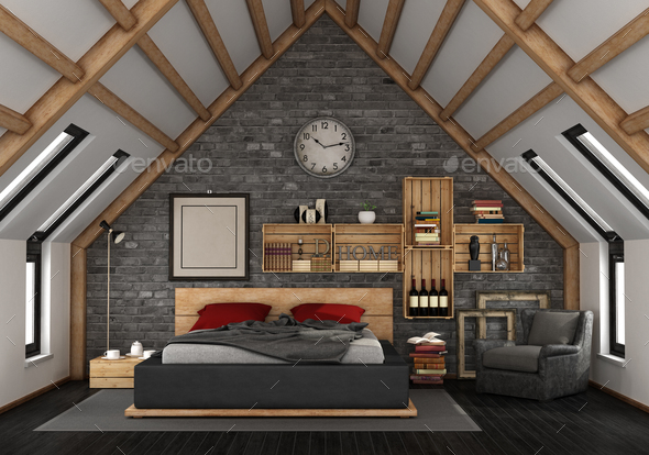 Mansard with master bedroom - Stock Photo - Images