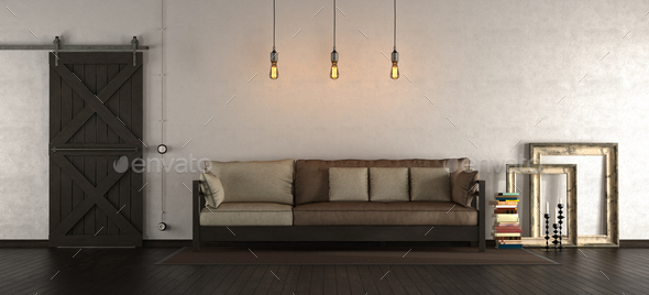 Living room in rustic style - Stock Photo - Images