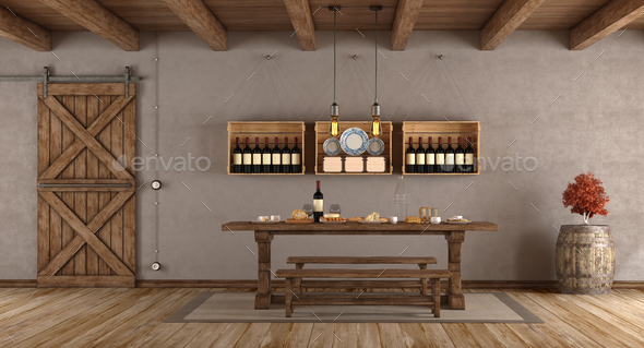 Dining room in rustic style - Stock Photo - Images