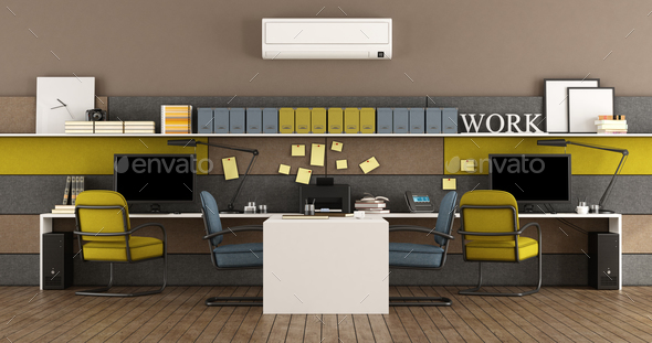 Blue and yellow modern office - Stock Photo - Images