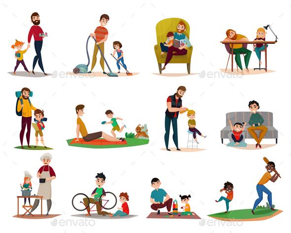 Fatherhood Raising Children Set - People Characters