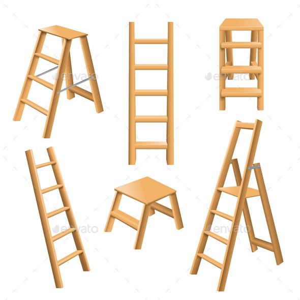 Wooden Ladders Realistic Set - Miscellaneous Vectors