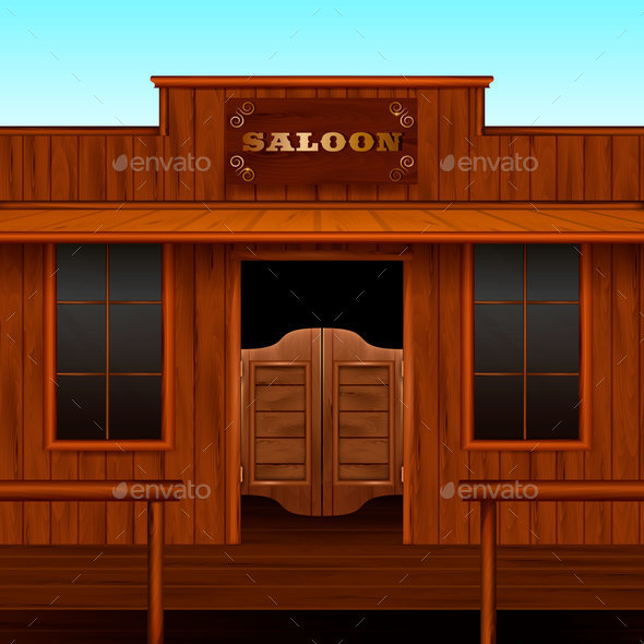 Western Saloon Entrance Composition - Buildings Objects