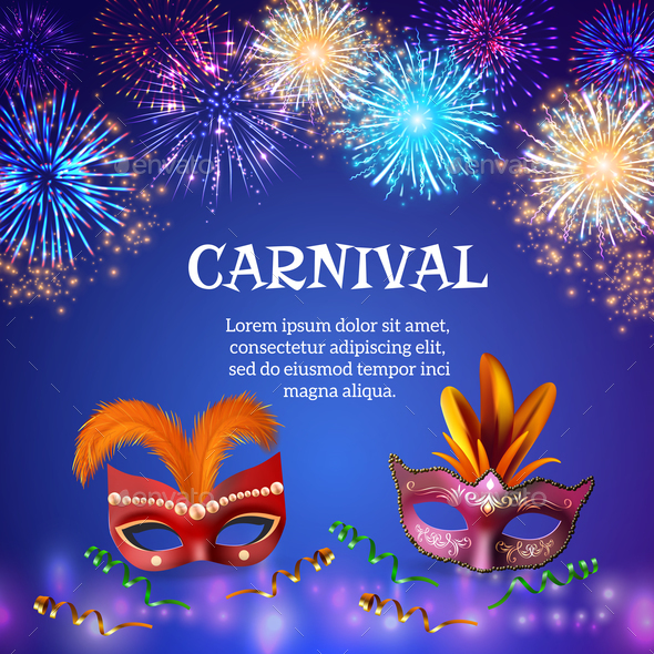 Carnival Masks Firework Background - Miscellaneous Vectors