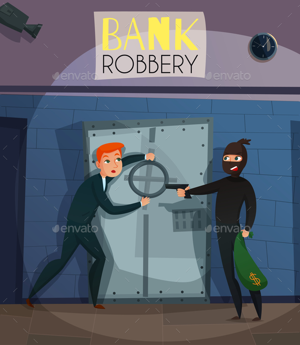Bank Robbery Illustration - People Characters