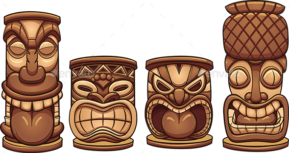 Tiki Totems - Man-made Objects Objects