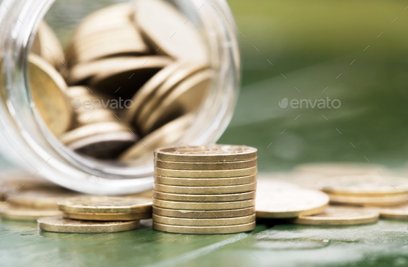 Retirement income concept - gold money coins - Stock Photo - Images