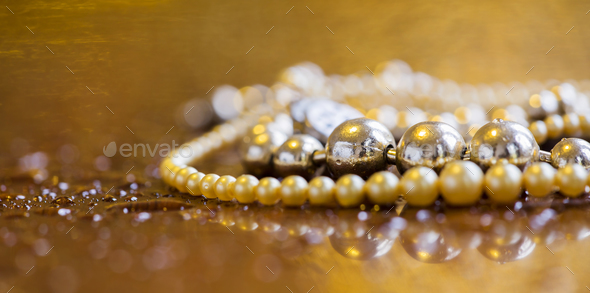 Luxury, wealth concept  - web banner of pearls jewelry - Stock Photo - Images