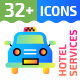 32+ Hotel Services Flat Icons - GraphicRiver Item for Sale
