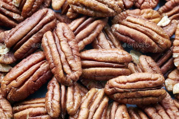 Close up picture of pecan nuts. - Stock Photo - Images