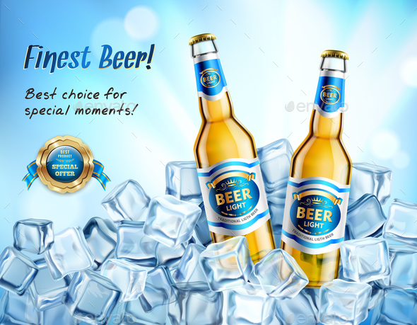 Realistic Light Beer Ad Poster - Backgrounds Decorative