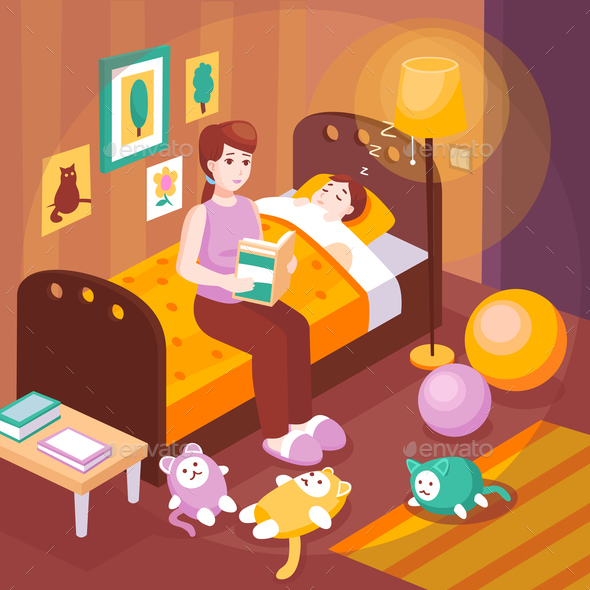 Mother Reading Bedtime Stories - Miscellaneous Vectors