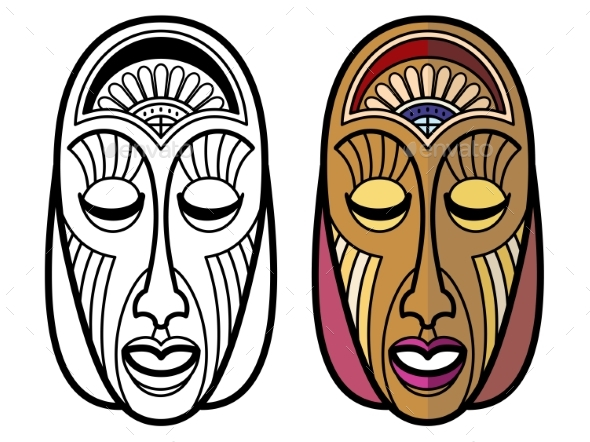 Tribal Masks Isolated - Miscellaneous Vectors