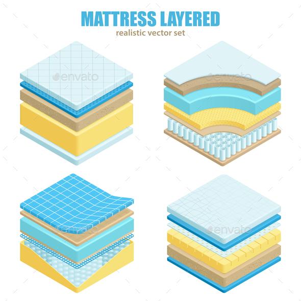 Bed Mattress Layers Orthopedic Set - Health/Medicine Conceptual