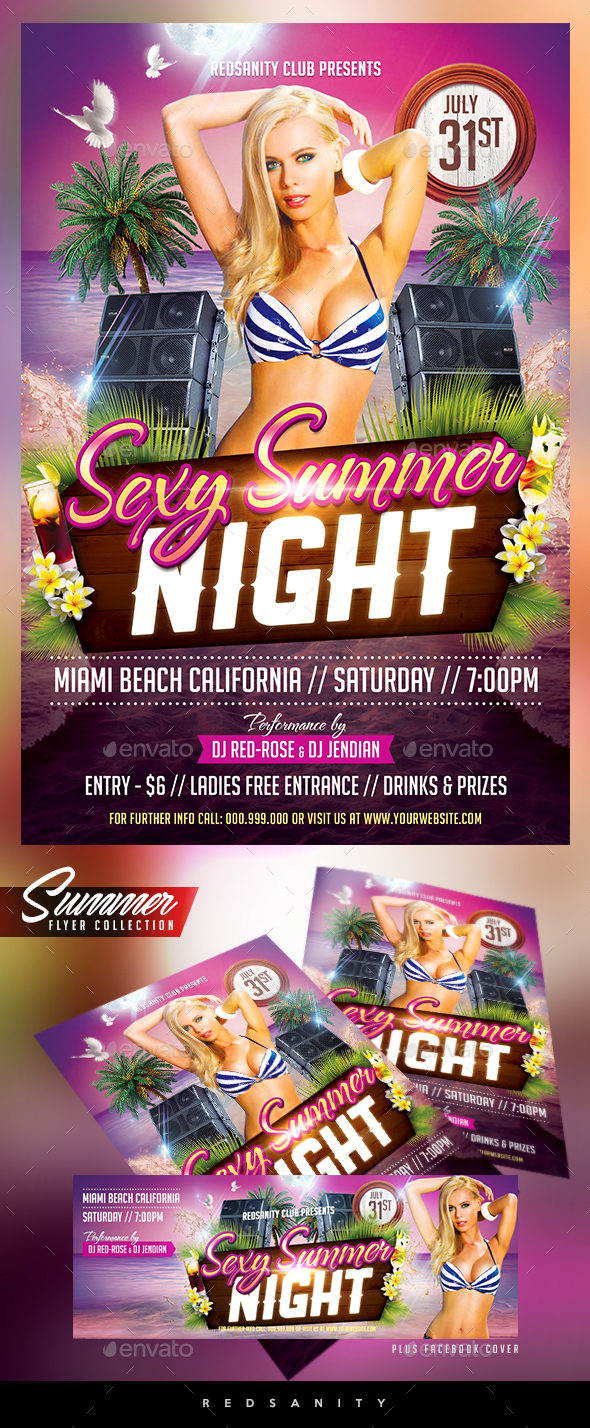 Sexy Summer Night Flyer Plus FB Cover - Clubs & Parties Events