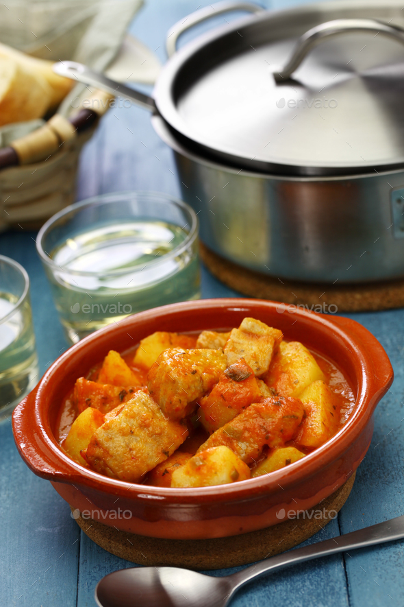 marmitako, basque tuna and potatoes stew - Stock Photo - Images