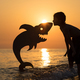 One happy little boy playing on the beach at the sunset time. - PhotoDune Item for Sale
