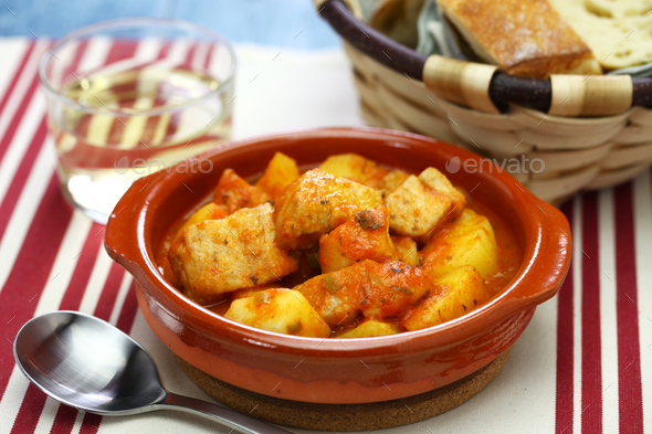 marmitako, basque tuna and potatoes stew - Stock Photo - Images