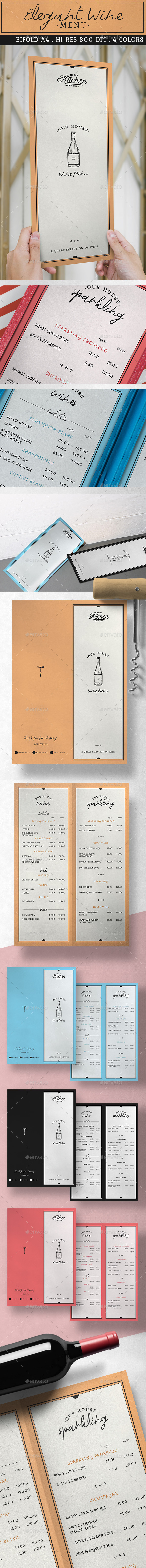 Elegant Wine Menu - Food Menus Print Templates