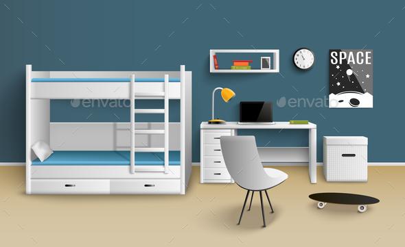 Teen Boy Room Realistic - Miscellaneous Vectors