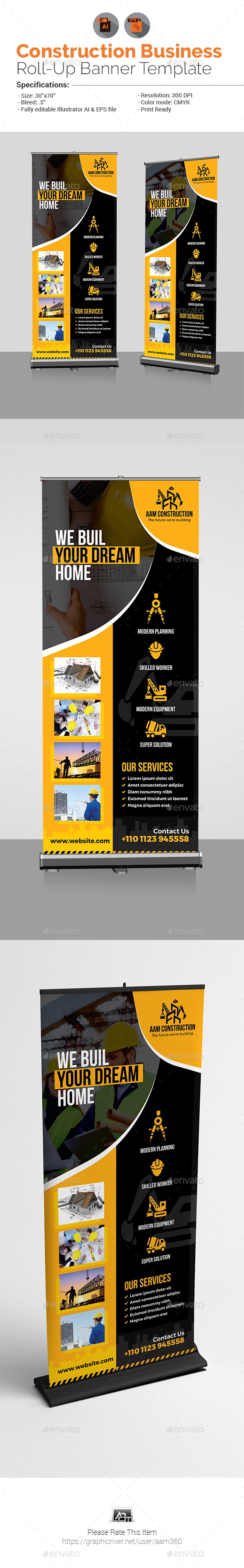 Construction Business Roll-Up Banner - Signage Print Templates