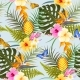Tropic Exotic Flowers Seamless - GraphicRiver Item for Sale