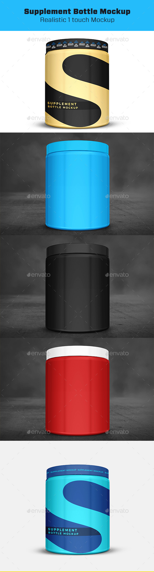Supplement Bottle or Jar Mockup - Miscellaneous Packaging