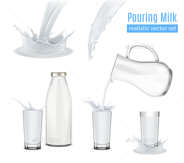 Pouring Milk Realistic Composition - Food Objects