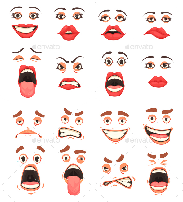 Cartoon Mouth Set - People Characters