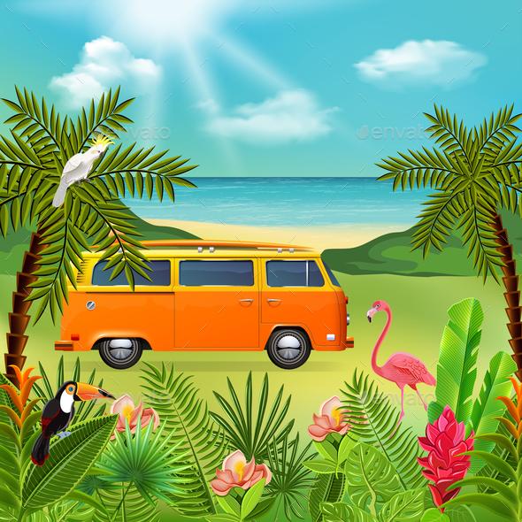 Hippie Van Holidays Composition - Miscellaneous Vectors