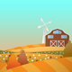 Farm In Spring Cartoon Background - VideoHive Item for Sale