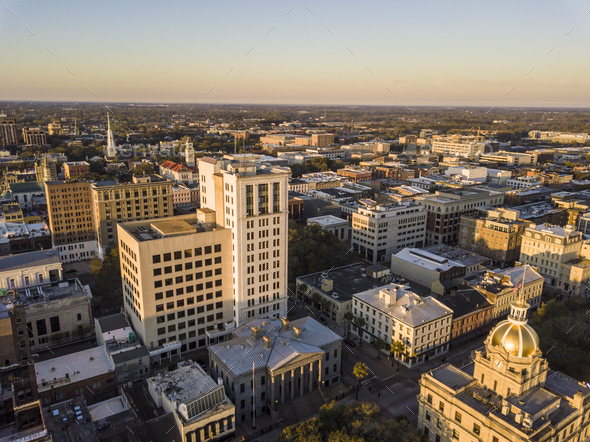 Aerial view of downtown Savannah, Georgia, USA, at dawn. - Stock Photo - Images