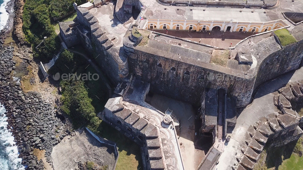 Aerial closeup view of Castillo San Felipe del Morro in San Juan - Stock Photo - Images