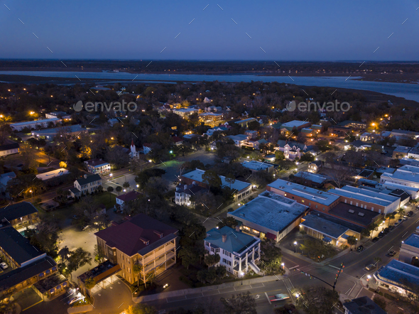 Aerial view of small town of Beaufort, South Carolina at night. - Stock Photo - Images