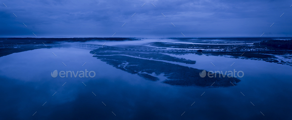 Night time aerial panorama of fog on a river - Stock Photo - Images